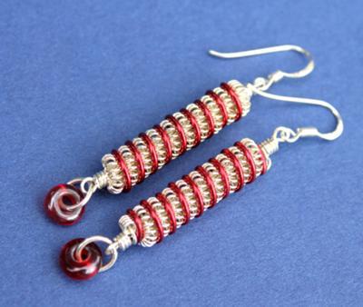 Red Twist – Sterling Silver Artisan Lampwork Coiled Earrings