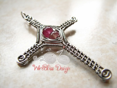 Religious Pendant – Wire Wrapped and Woven Cross