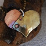 Riveted Brass and Copper Heart