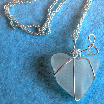 "Greek sea glass ""heart"" with sterling silver"