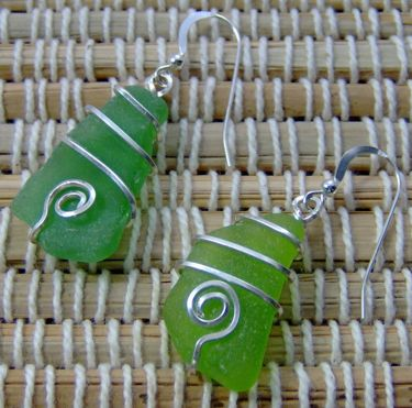 Beach glass and wire earrings by Shirley Graves