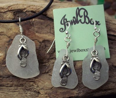 Beach glass pendant and earring set by Shirley Graves