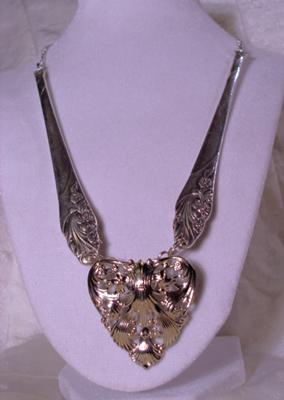 Silver Plated Spoon Handle Necklace with Repurposed Heart