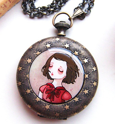 Ethereal sleeping girl on front of pocket-watch locket by Hidden Eloise