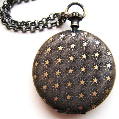 Starry back of sleeping girl pocket-watch locket