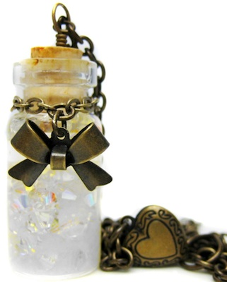 Snow Globe Pendant Antiqued Brass Necklace