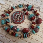 Southwestern Necklace with Handmade Polymer Clay Beads