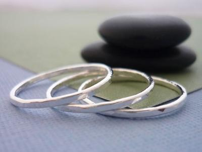 Stackable Hammered Fine Silver Rings