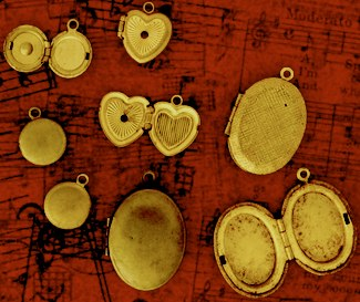 Antiqued brass components like these lockets work well in mysterious steam-style designs.