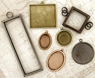 You can use antiqued jewelry photo frames for vintage images, scraps of letters or books, collages - or to exhibit a collection of steampunk gears.