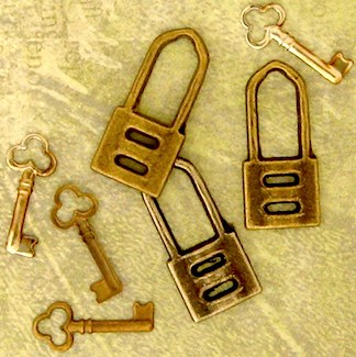 Antiqued, vintage locks and keys of any wearable size work well in this type of jewelry.