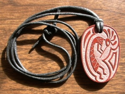 """Kokopelli"" catlinite pendant by Stephen Lee."