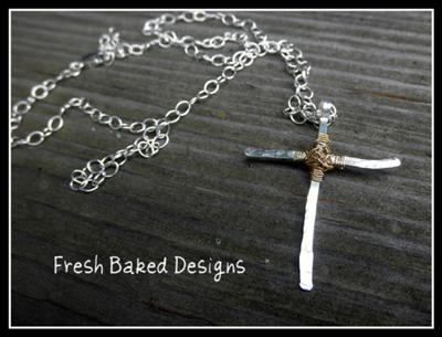 Sterling Wire-Wrapped Cross Pendant