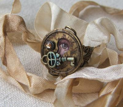 The Secret - steampunk ring by Joan Williams