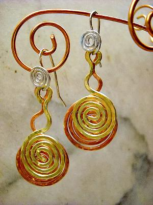 Three Colors Spiral Earrings