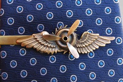 Steampunk tie clip close up