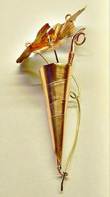 tiny copper bouquet side view