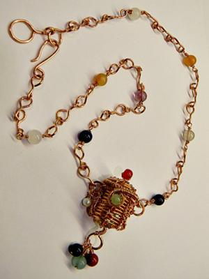 Tiny treasure basket necklace