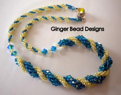 Turquoise and Yellow Spiral Necklace