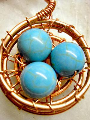 Turquoise Eggs in Nest Necklace