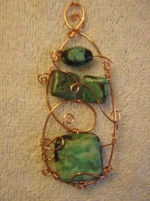 Turquoise Maze - copper wire and turquoise beads