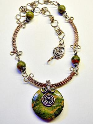 Unakite and Basketweave Necklace