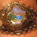 Victorian Steampunk Bracelet with Swarovski Stone and Chunky Chain