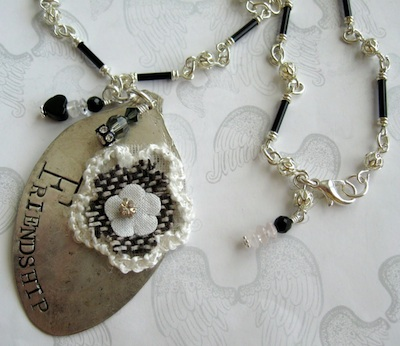 Vintage Spoon Pendant Necklace, Stamped Friendship, with Gemstones