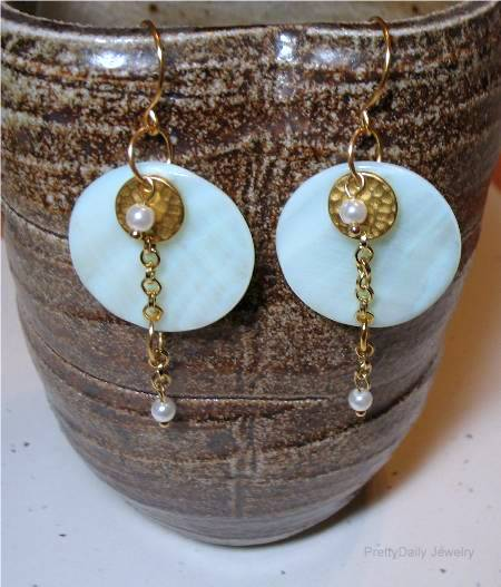 Summery Mother of Pearl Layered Earrings