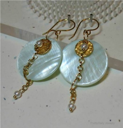 mother of pearl layered earrings
