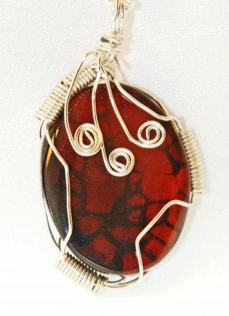 Wire Wrapped Red Agate Pendant