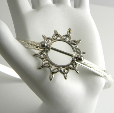 Celtic Sun Shield and Barbell Choker in Sterling