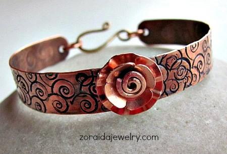 Zoraida: Stamped Copper & Metal Flower Bracelet -1