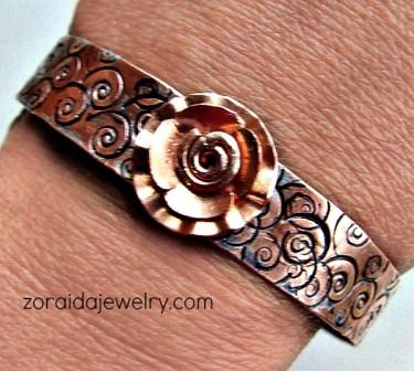Zoraida: Stamped Copper & Metal Flower Bracelet -3