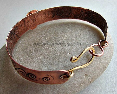 Zoraida: Stamped Copper & Metal Flower Bracelet -2