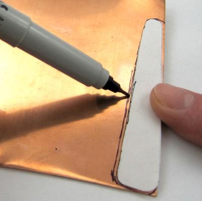 Trace around paper ring pattern on sheet metal