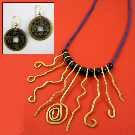 Brass Aztec and Coin Jewelry by Rena Klingenberg