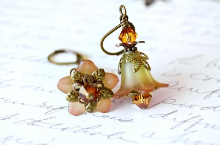 lucite flower earrings in orange and green