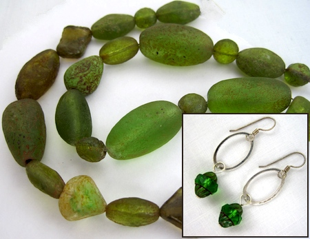 Green tumbled glass bead necklace; Czech glass and sterling silver earrings; by Rena Klingenberg