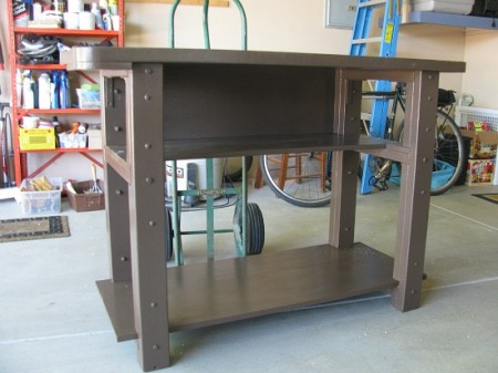 Refurbished jewelry workbench in chocolate brown.