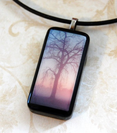 tree at dawn polymer photo pendant