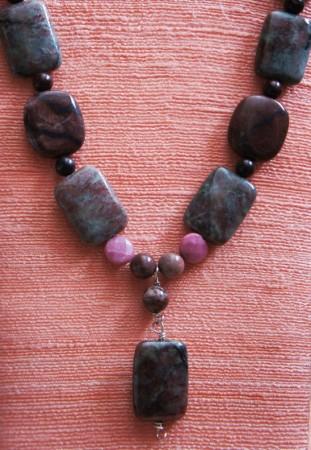 Necklace, sterling silver, brecciated jasper, red picture jasper, rhodonite and Kashgar garnets