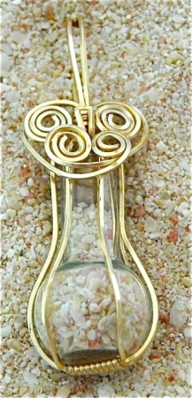 bermuda sands in glass bottle pendant