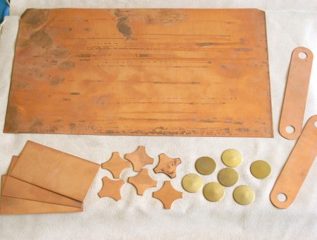 brass and copper sheet scraps and cut shapes