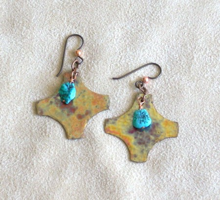 earrings made from metal scraps.