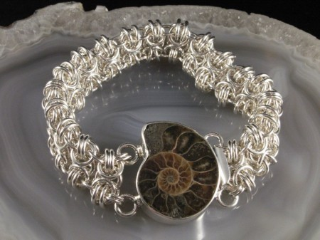 sterling silver chainmaille bracelet with fancy fossil clasp