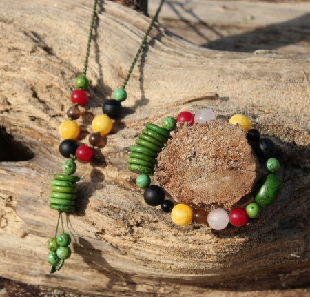 Five Elements Jewelry. Seen Here: Wood Element barcelet and necklace set-Influential color: Green