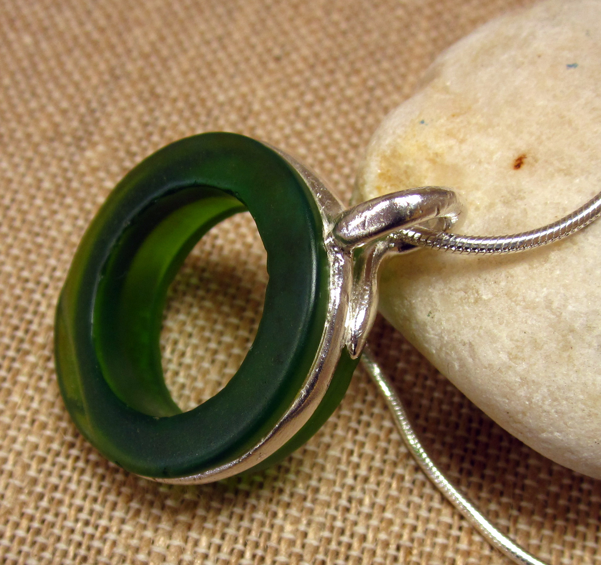 Sea Glass Wrapped in Precious Metal Clay