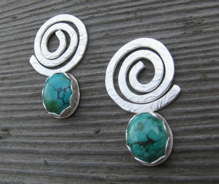 metalwork silver bezel earrings with soldered etched swirls