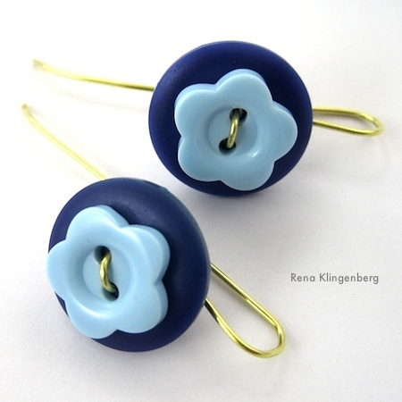 Flower Power Button Earrings Tutorial by Rena Klingenberg